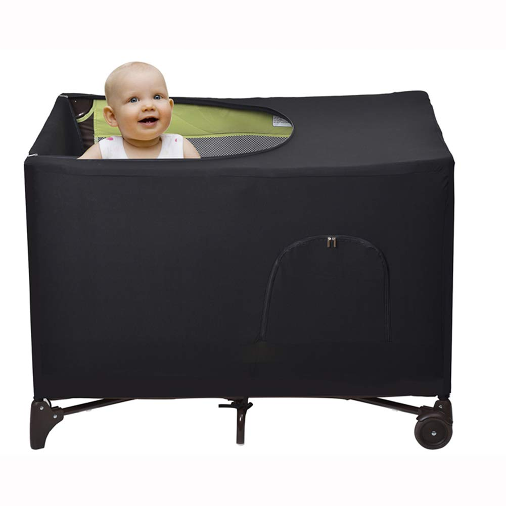 LYFFXYH Crib Tent Cover Stretchy Blackout Tent for Pack N Play, Bed Darkening Cover Tent for Indoor or Outdoor Portable to Sleeping or Play