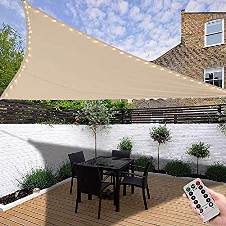 Amazon Com Led Triangle Sun Shade Sail 10 X 10 X 10 Patio Shade Tarp With String Light For Outdoor Shade And Dimmable Warm Ambiance Garden Outdoor