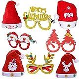 Dusenly - Set de 8 Gafas y Gorros de Navidad con Purpurina, diseño de Reno