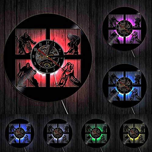 Reloj de pared de hockey con disco de vinilo de los E.E.U.U. de hockey de los jugadores de porteros de los deportes de la sala de la decoración de la pared del disco de vinilo de