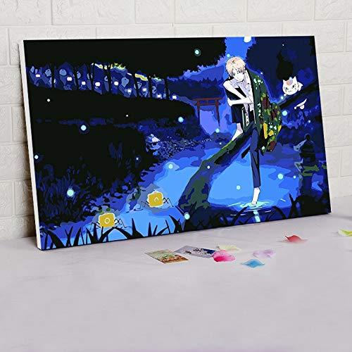 yuandp Digitale schildering op nummer, Natsume DIY digitale schilderij Japanse stijl cartoon poster modulair schilderij Anime Poster 30 * 45 cm