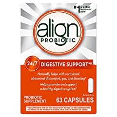 ONE CAPSULE A DAY PROVIDES 24/7 DIGESTIVE SUPPORT. Align Probiotic Supplement, for men and women, naturally helps fortify your digestive system with healthy bacteria whenever you take it. One Align probiotic capsule a day, taken with or without food,...
