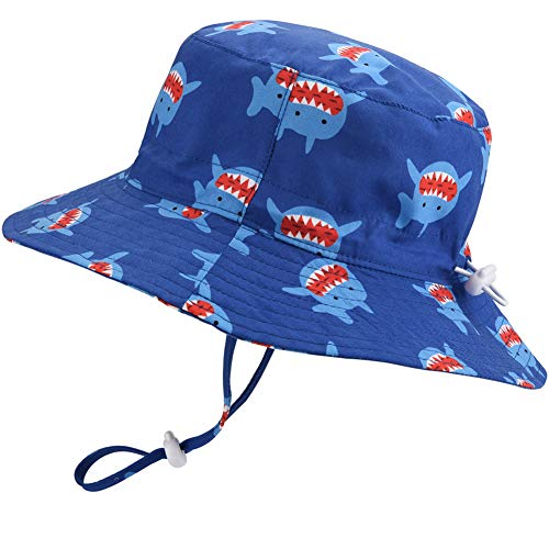 Baby Sun Hat Adjustable - Outdoor Toddler Swim Beach Pool Hat Kids UPF 50+ Wide Brim Chin Strap Summer Play Hat(Shark, 52cm)