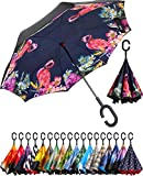BAGAIL Double Layer Inverted Umbrella Reverse Folding Umbrellas Windproof UV Protection Big Straight Umbrella for Car Rain Outdoor with C-Shaped Handle (Flamingo)