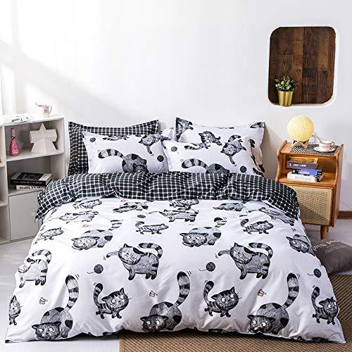 AYAONG Katzenmuster-Bettdecke-Deckung Kinder 135x200 / 150x200 Kissenbezug 3pcs Bettdecken-Set, Bettwäsche-Set, Steppdecke, Bettwäsche, Bettbezug (Color : C 1, Size : Cover 175x220cm 3pcs)