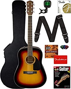 Fender CD-60 Dreadnought Acoustic Guitar - Sunburst Bundle with Hard Case, Strap, Tuner, Strings, Picks, Instructional Book, and Austin Bazaar Instructional DVD
