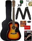 Fender CD-60 Dreadnought Acoustic Guitar - Sunburst Bundle with Hard Case, Strap, Tuner, Strings,...