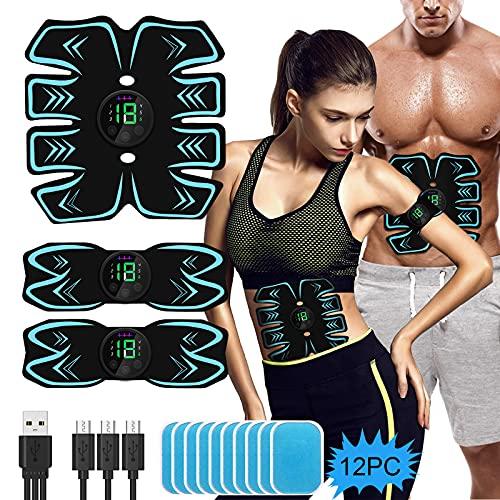 Electroestimulador Muscular Abdominales, EMS Estimulación USB Recargable ABS Trainer para Abdomen/Brazo/Piernas/Cintura
