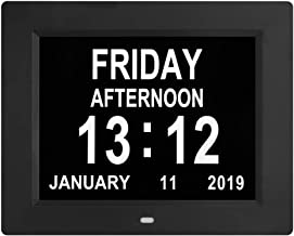 Redlution [Newest Version] Day Clock - Extra Large Impaired Vision Digital Clock with Battery Backup & 5 Alarm Options (Black)