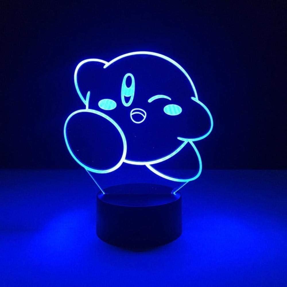 BTEVX 3D Illusion Lamp Led Night Light 7 Cloors Unique Kids Kirby Game for Nursery Decoration Kids Gifts App Control Room Decoration Sleep Lamp