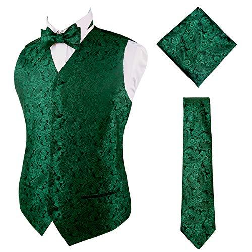 Alizeal Mens Classic 4pc Suit Vest, Self-tied Bow Tie, 9cm Necktie and Handkerchief Set, Dark Green-L