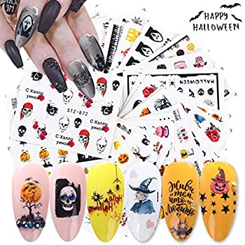 IDALL Halloween Party Nail Art Water Transfer Stickers - 24Sheets Mixed Pattern Metallic Nail Stickers,Manicure DIY Nail Decals Skull Devil Ghost Face Eye Blood Clown Art Design Nail Decorations