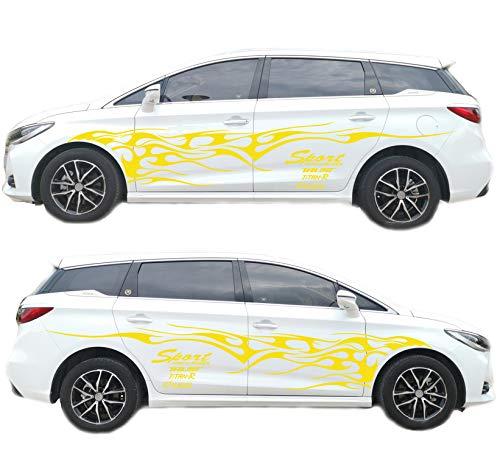 BININBOX 1 Set Car Body Side Truck Decal Vinyl Flame Graphics Racing Stripes Sticker Universal (Yellow)