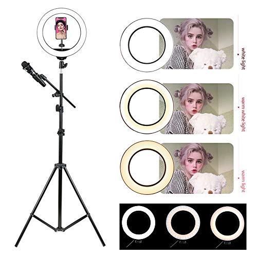 5.7'Ring Light Luce Anulare LED per Selfie Dimmerabile Modalità a 3 Luci e 11 Livello di Luminosità con Spina USB Treppiede per Microfono,Trucco,Video di YouTube e Fotografia Makeup Live Stream