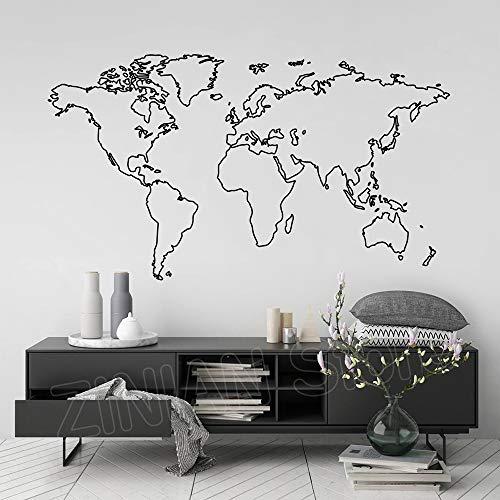 guijiumai Mapa del Mundo calcomanías de Pared de Vinilo para la decoración del Dormitorio Mapa de Vinilo Pegatinas de Pared decoración para el hogar Papel Tapiz Mural extraíble Blanco 99x56 cm