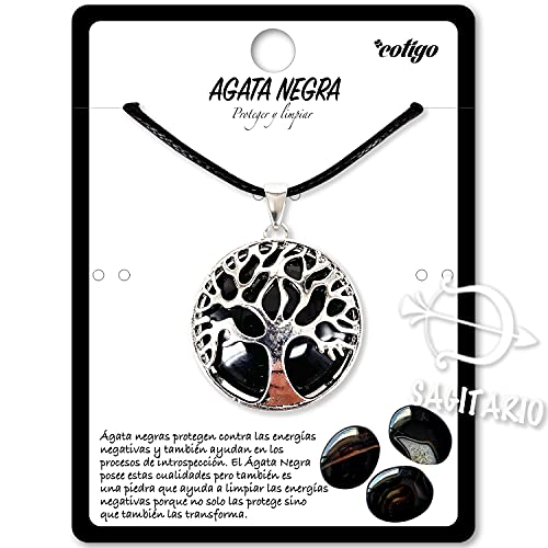 Collar de árbol de la Vida con Colgante Piedra Natural Energeticas - Distintas Piedras Semipreciosas (Ágata Negra)