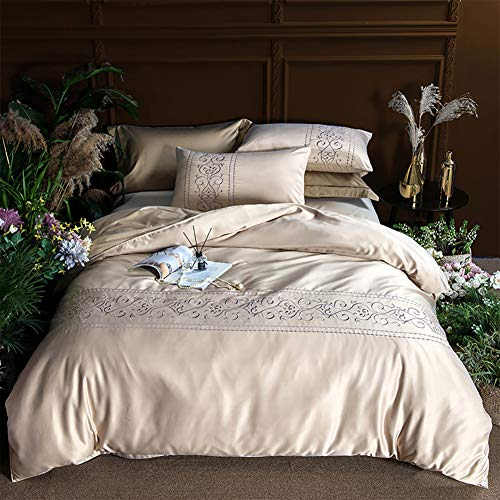 FGDSA Bedding Set King Size Pure Silk 4pcs Bedding Sets King Size Bed Bed Cloth Sheet Flat Sheet Bed Romantic Style Jacquard Classic Design King Size Duvet Cover Bed Sheet Pillow Case