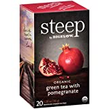 steep by Bigelow Organic Green Tea with Pomegranate, 20 Count (Pack of 6), 120 Tea Bags Total