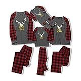 puseky Familia Trajes a Juego de Navidad Ropa de Dormir a Cuadros de Alce Ropa de Dormir Conjunto de Pijamas de Navidad para Padres E Hijos