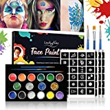 Luckyfine Pinturas Faciales y Glitter Corporales, Kit de Maquillaje Halloween - 12 Colores Pinturas Corporales, 4 x Glue Glitter, 4 x Pegatinas de Tatuaje, 3 x Pinceles de Pintura