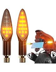 CCAUTOVIE Intermitentes Led Moto Universales Intermitentes Moto Homologados Luz Senal de Giro Indicator Faros Ambar E4, 2 Piezas