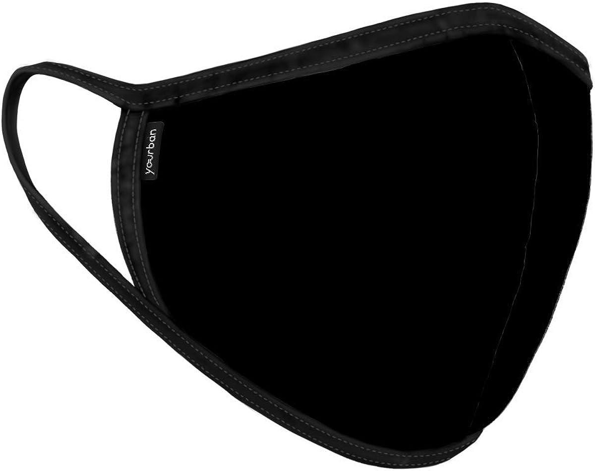 YOURBAN Mascarilla color negro. TALLA M, unisex, lavable y reutilizable Con certificación UNE0065:2020 - FILTRACIÓN (BFE): 98.9% y RESPIRABILIDAD: 26.5 Pa/cm2