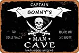 SITNG Pirate Captain Bonny'S Man Cave Landlubbers Welcome Retro Wall ArtQuality Vintage Metal Tin Sign Wall Decor Poster Mature man Living prompt Targa in alluminio 20,5 x 30,5 cm