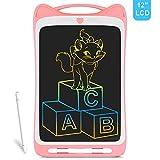 Richgv Dessin Animé Tablette d'écriture LCD colorée, Tablette Graphique de 12 Pouces Digital Ewriter, Tablette de griffonnage Portable avec Stylet pour Enfants (Rose)