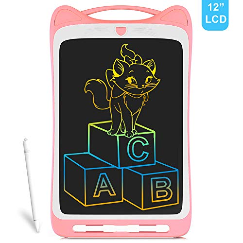 Richgv 12 Zoll LCD Writing Tablet Mini Schreibtafel Digital Ewriter Grafiktabletts Papierlos Doodle Board Drawing Board für Kinder (Rosa)