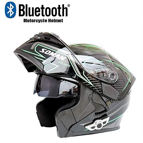KUI Casco Inteligente Casco Bluetooth para Moto Espejo Doble Antiniebla Contestador Automático Multifunción Casco Integral para Hombres/Mujeres,Black-Green-L(59-60cm)