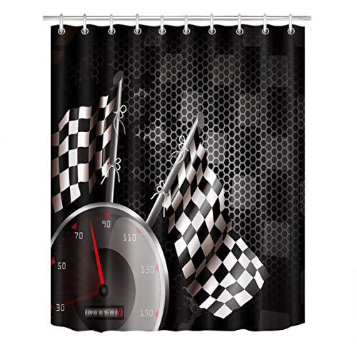 LB Polyester Bath Curtain Shower Curtain 60'x72',Nice Bathroom Decor F1 Car Racing White Black Shower Curtain