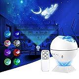 LED Proyector de Luz Estrellas Galaxia,Lámpara Proyector Estrellas,360°de Luz Nocturna Giratorio,luz de luna de 10...