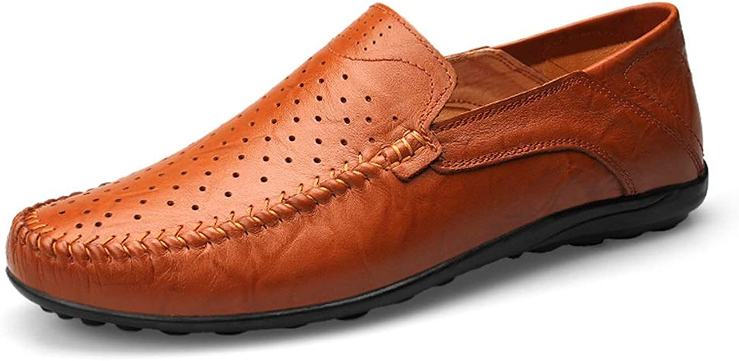 2018 men shoes Men's Casual Pure color Flexible Lightweight Boat Moccasins Fashion Driving Loafers (Hollow Optional) (color   Hollow Brown, Size   8 UK)
