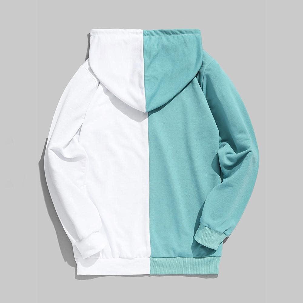 Hoodies for Mens Mens Casual Patchwork Long-sleeve Slim Fit Hoodie Drawstring Outwear Two-color Mens Hoodies & Sweatshirt