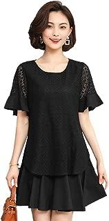 Women's Short Sleeve Dresses Casual Loose Lace Swing Elegant Short Dresses Simple (Color : Black, Size : 4XL)