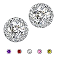1.Size: 10mm*10mm, a perfect stud earrings design for women. Special for your wedding, engagement, anniversary, graduation, party, prom, daily wear and any moment you want to be an unforgettable beauty. 2.Weight: a pair of 3.55g, a simple earrings th...