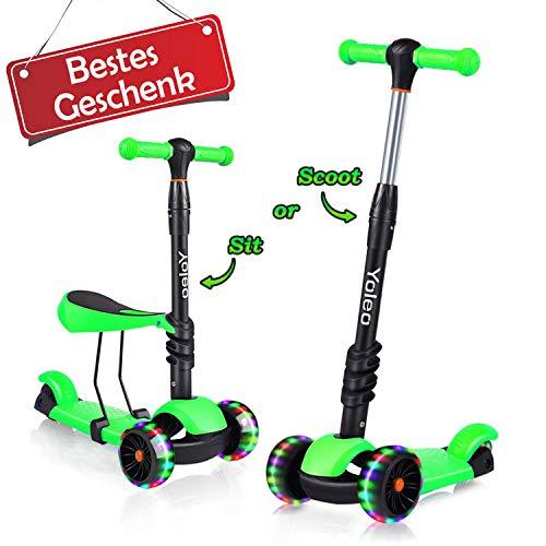 Yoleo 3-in-1 Kinderscooter Kinder Roller mit Abnehmbarem Sitz, LED große Räder, Höheverstellbare Lenker für Kleinkinder Jungen Mädchen ab 2 Jahre (Grün)