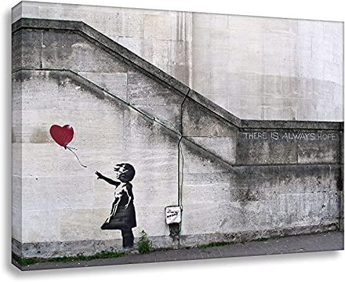 Banksy Foto auf Leinwand / Always Hope / Kunstdruck Wandbild Leinwandbild 80x60 cm (70x100 cm)