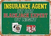 金属の駐車標識、日別保険代理店、夜のブラックジャックの専門家オフィスステッカーショップホームガーデンベッドルーム楽しいAS1185金属ティンサイン装飾鉄の絵