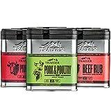Traeger Grill Holiday Rub Bundle: Pork and Poultry Rub, Prime Rib Seasoning and BBQ Rub, and Beef Seasoning and BBQ Rub