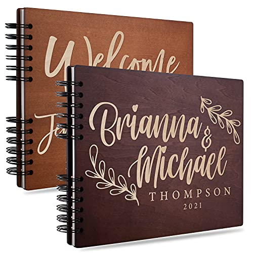 USA Custom Gifts Personalized Wedding Guest Book | 8 Designs & 5 Rustic Colors | Laser Engraved  Rustic Wedding Registry Book with Name  Date