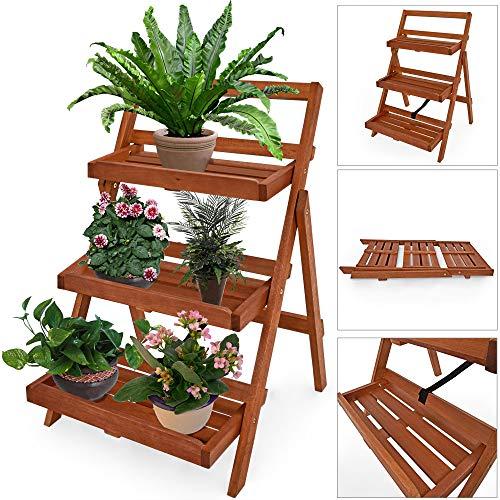 DEUBA Blumentreppe Blumenregal Blumenleiter Holz Regal 79 x 59 x 56cm FSC®-zertifiziertes Akazienholz Pflanzregal