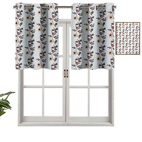 Cortinas opacas con aislamiento térmico con ojales cortos, flores y hojas florecientes con flores y capullos de flores, diseño de jardín, juego de 2, 42 x 24 pulgadas para cocina y baño