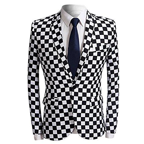 Men's Fashion Slim Fit Casual Print One Button Suit Jacket Blazer (Black&White Plaid, XX-Large)