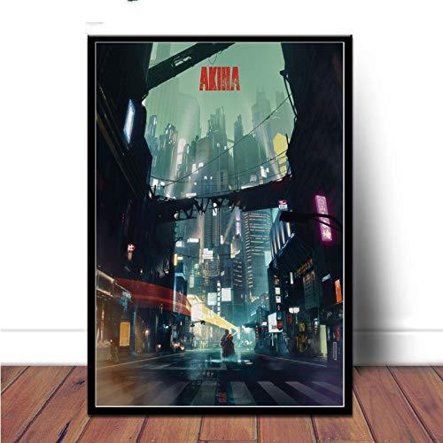 MHHDD Poster Und Drucke Akira Red Fighting Japan Anime Comic Leinwand Kunst Ölgemälde Wandbilder Für Wohnzimmer Home Decor50x70 cm Kein Rahmen