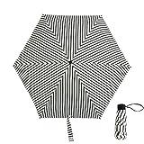 xinrongqu Neue Fünf Falten Taschenschirm Tasche Schwarz Kunststoff Sonnenschirm Tragbare Sonnenschirm Regenschirm Streifen 48,5X6 Karat