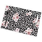 Placemats for Dining Table Set of 6,Modern Black and White Leopard Seamless