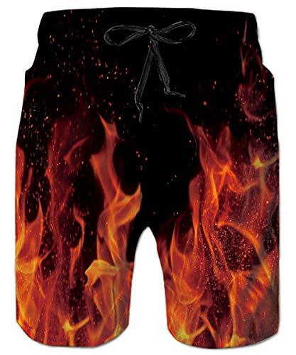ALISISTER Badehose 3D Feuer Graphic Schwimmhose Schnell Trockene Badeshorts Lustig Hawaii Hose Athletic Boardshorts Herren XXL