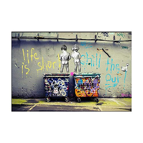 Cuadros en lienzo Banksy Graffiti Art Pintura abstracta en lienzo 'Life Is Short Chill The Duck Out' Carteles e impresiones Cuadros de pared para decoración del hogar 65x95cm Sin marco