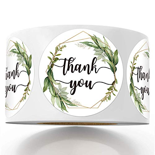 500 Chic Golden Greenery Frames Thank You Label Stickers, 1.5 Inch Circle Round Green Palm Leaves Wreath Thank You Stickers.